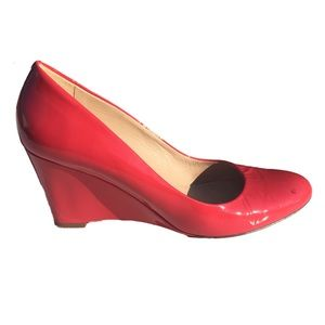 J Crew Red Martina Patent Leather Wedges Size 9